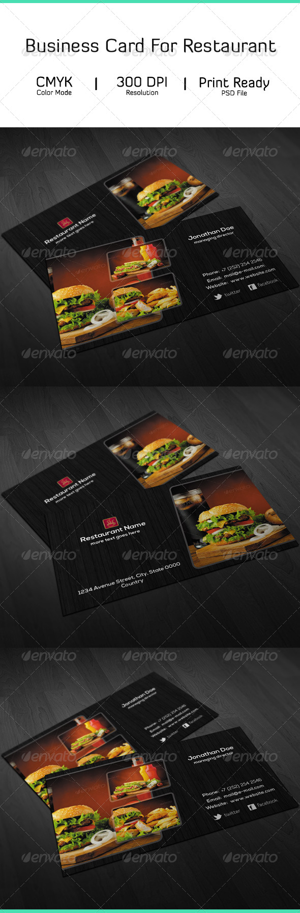 GraphicRiver Restaurant Business Card 7030301