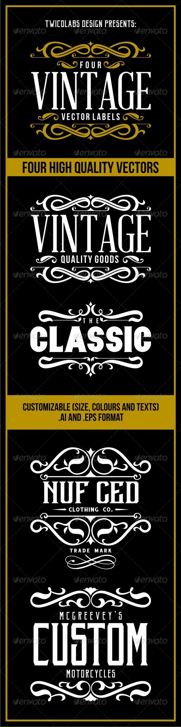 GraphicRiver 4 Vintage Vector Labels 7030842