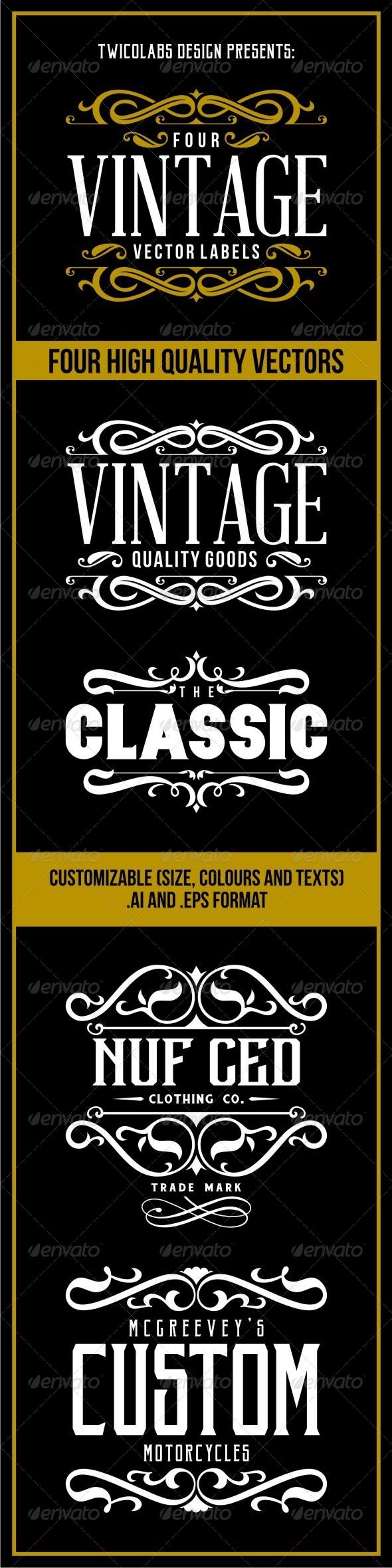GraphicRiver 4 Vintage Vector Labels 7030842