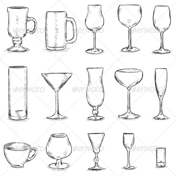 GraphicRiver Vector Set of Sketch Stemware 7031204