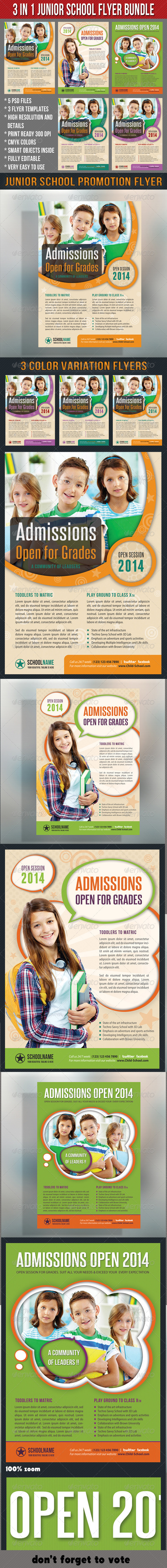 GraphicRiver 3 in 1 Junior School Promotion Flyer Bundle 01 7031751