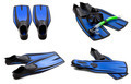 Set of blue swim fins, mask, snorkel for diving with water drops - PhotoDune Item for Sale