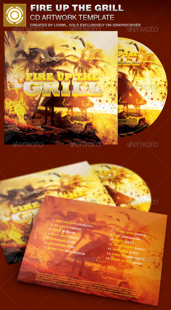 Fire Up The Grill CD Artwork Template - CD & DVD artwork Print Templates