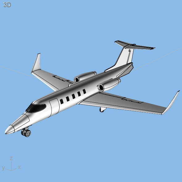3DOcean Learjet 28-29 Longhorn private jet CAD model 7037206