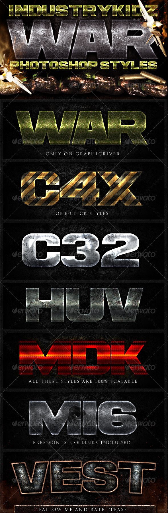 War Photoshop Layer Styles - Text Effects Styles