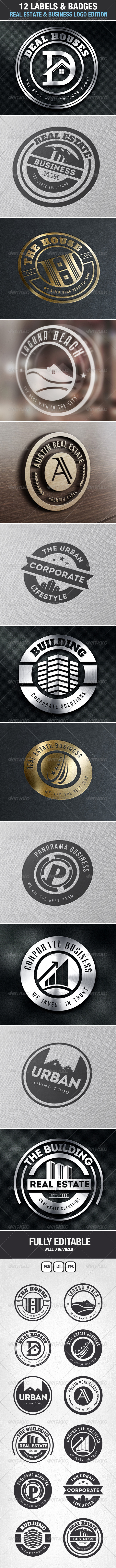 GraphicRiver 12 Real Estate & Business Labels & Badges Logos 7037651