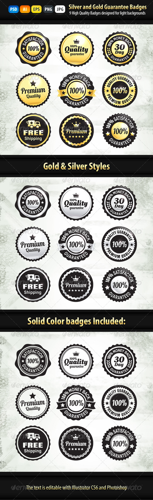 GraphicRiver 9 Gold And Silver Quality Guarantee Badges 7038290