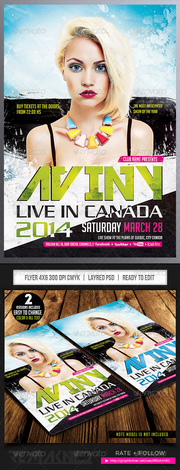 GraphicRiver Aviny Live Show Flyer Template PSD 7039390