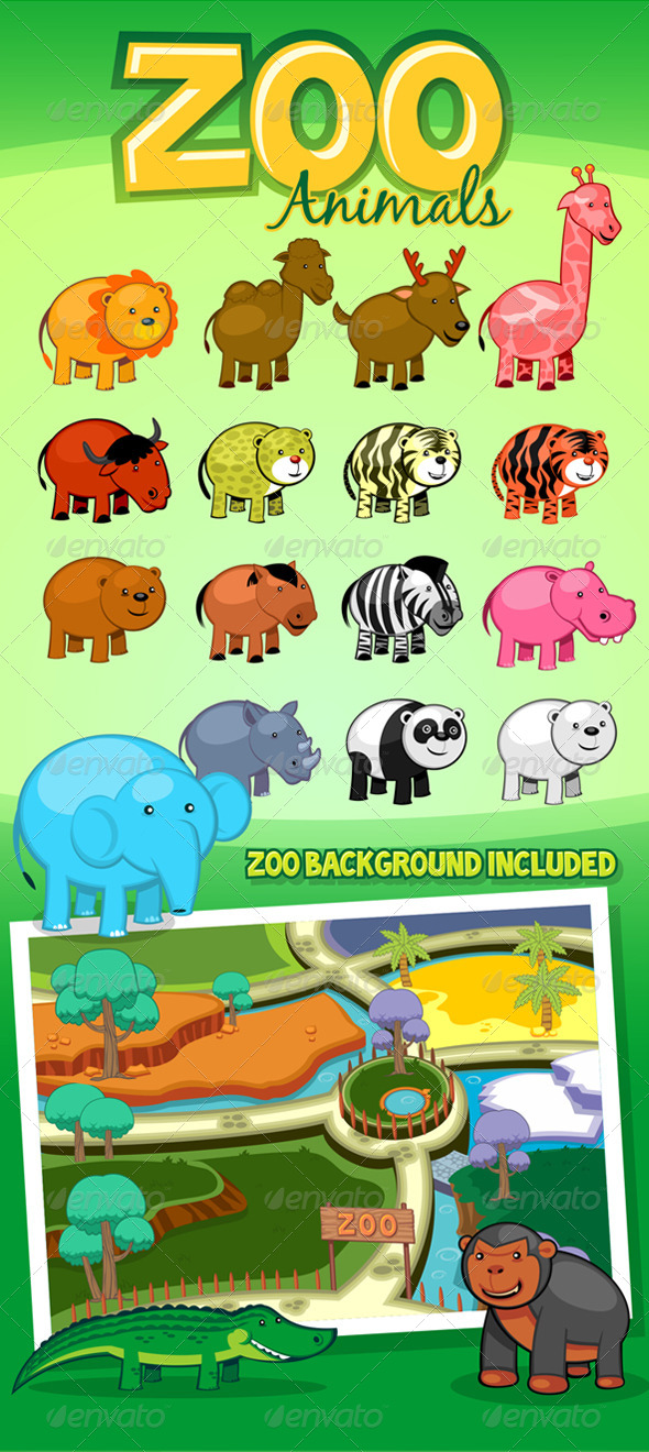 GraphicRiver Zoo Animals 7039572