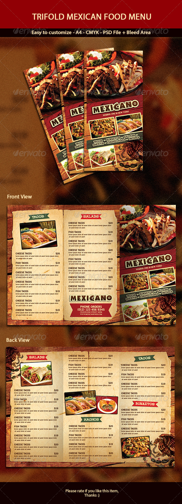 GraphicRiver Trifold Mexican Menu 7039585