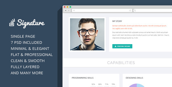 ThemeForest Signature OnePage Personal Resume PSD Theme 7041207