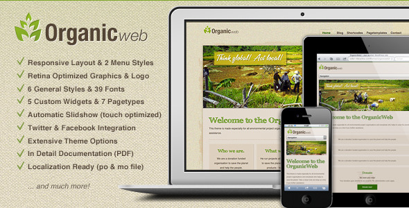 Organic Web - Environmental WordPress Theme - Environmental Nonprofit