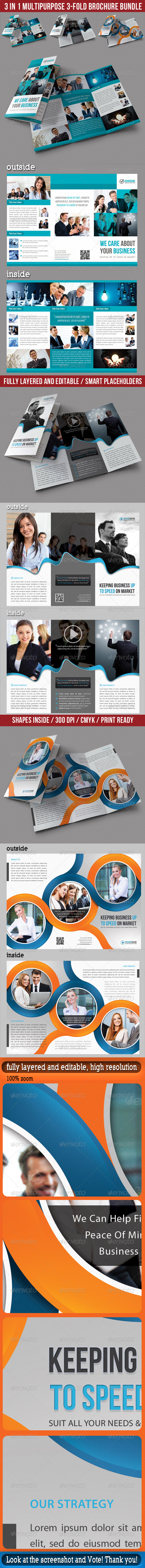 GraphicRiver 3 in 1 Corporate 3-Fold Brochure Bundle 02 7028505