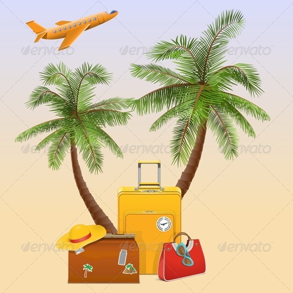 GraphicRiver Travel Concept with Palm 7045341