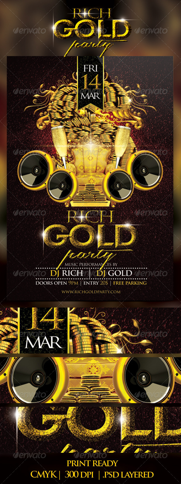 GraphicRiver Rich Gold Party Flyer 7026862
