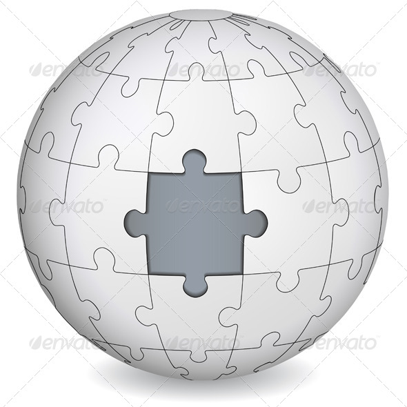GraphicRiver Puzzle Globe with Piece Missing 7025656