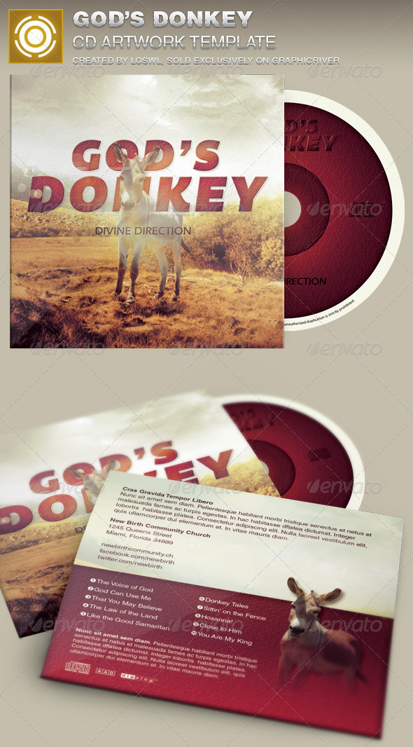 GraphicRiver God s Donkey CD Artwork Template 7046700