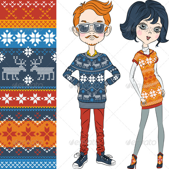 GraphicRiver Fashion Hipster Boy and Girl in Knitted Sweaters 7048127