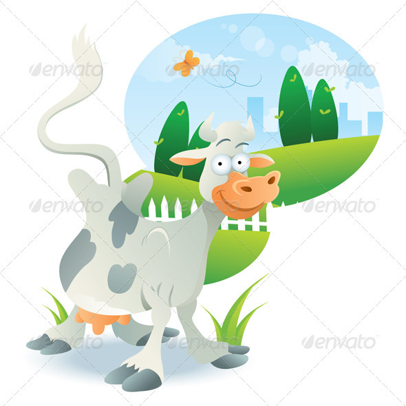 Cow Illustration Cartoon - Animals Characters