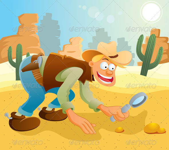 Cowboy Find Some Gold | GraphicRiver