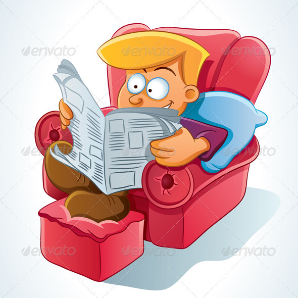 Cartoon Characters Reading : Man reading newspaper graphicriver