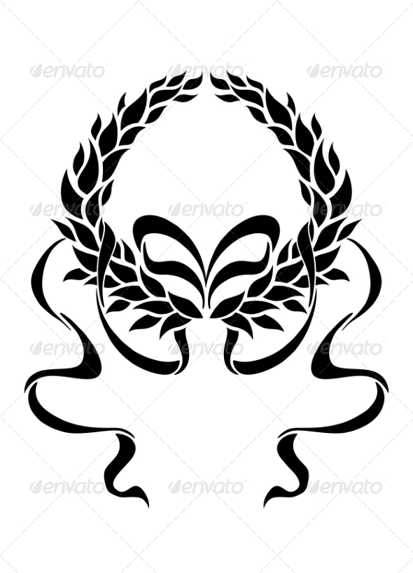 GraphicRiver Foliate Laurel Wreath with Long Trailing Ribbons 7049090