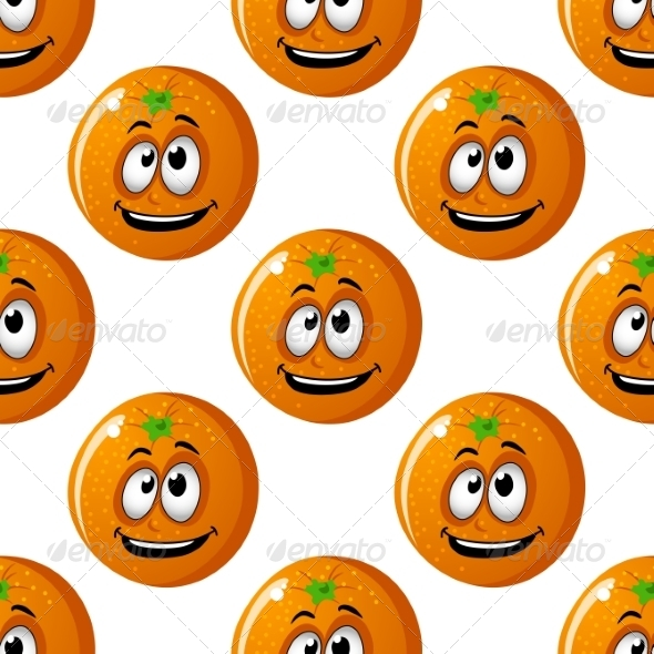 GraphicRiver Seamless Background Pattern of Cartoon Oranges 7049118