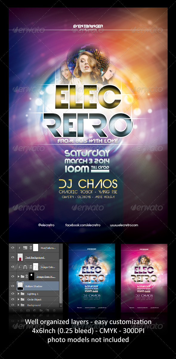 GraphicRiver ElecRetro Party Flyer 7030238