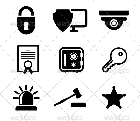 GraphicRiver Safety and Security Icons Set 7049232