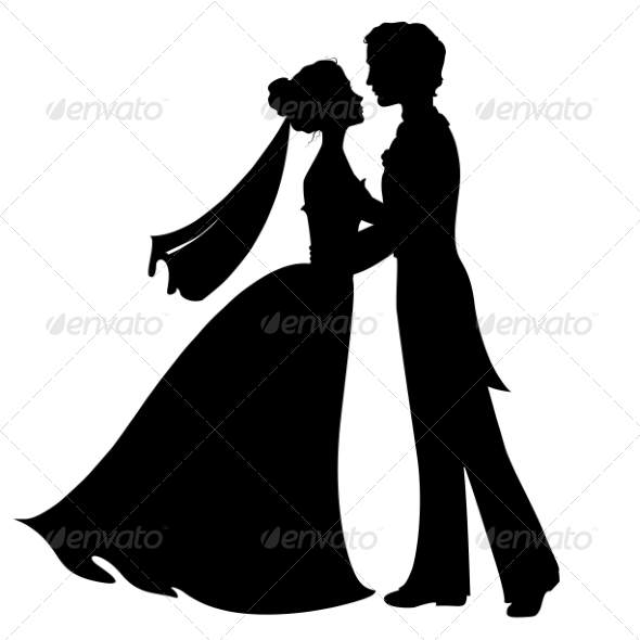 GraphicRiver Silhouette of Bride and Groom 7049354
