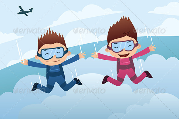 GraphicRiver Skydiving Couple 7049482