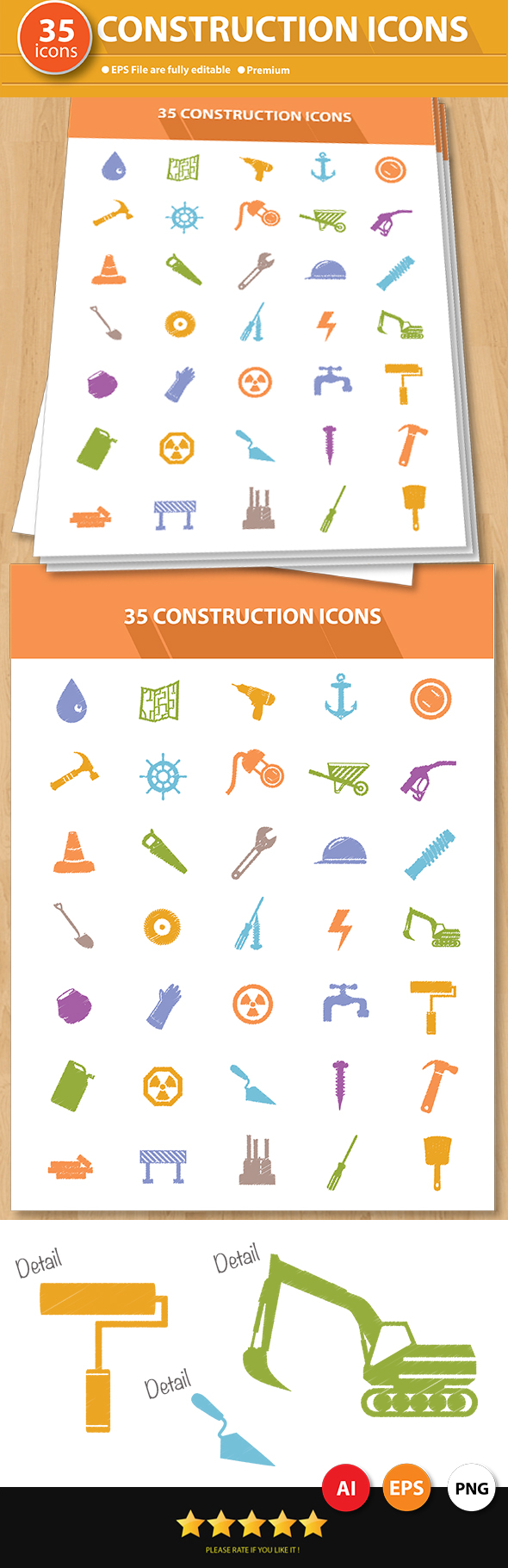 GraphicRiver 35 Construction Icons 7050155