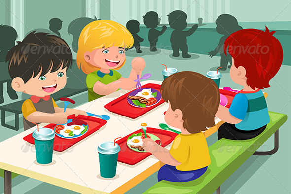 GraphicRiver Elementary Students Eating Lunch in Cafeteria 7052156