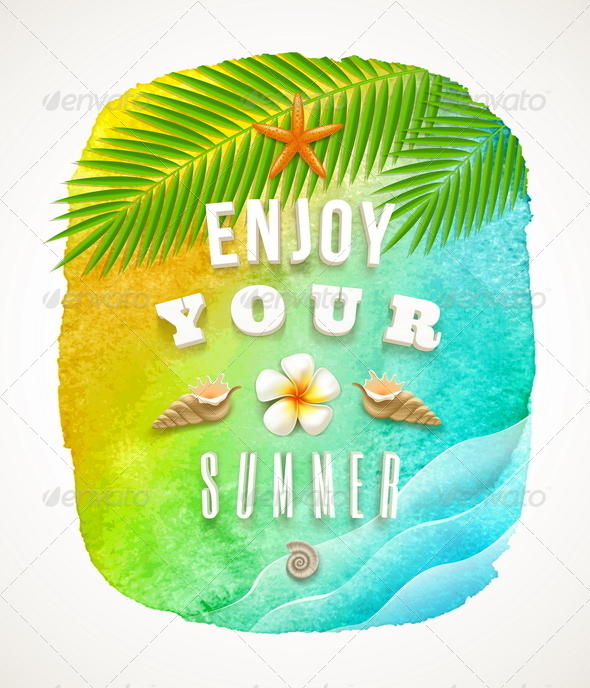 GraphicRiver Watercolor Banner with Summer Greeting 7053466