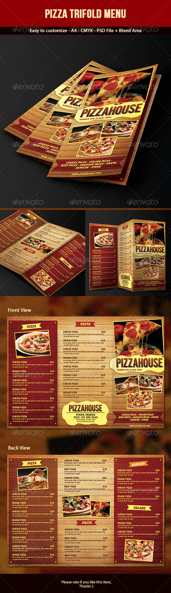 GraphicRiver Trifold Pizza Menu 7054729