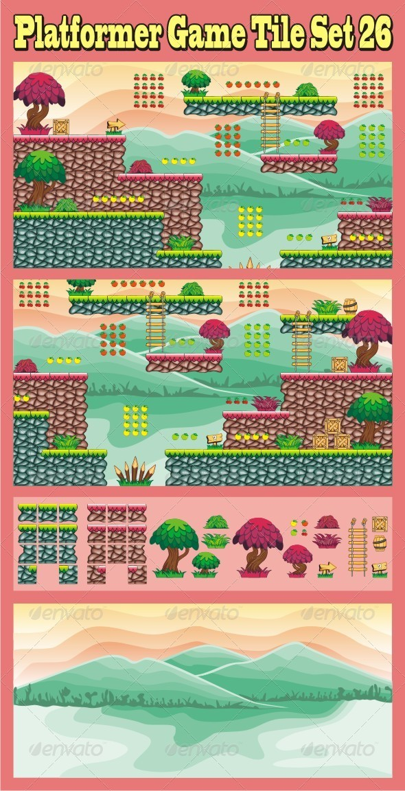 GraphicRiver Platformer Game Tile Set 26 7055388