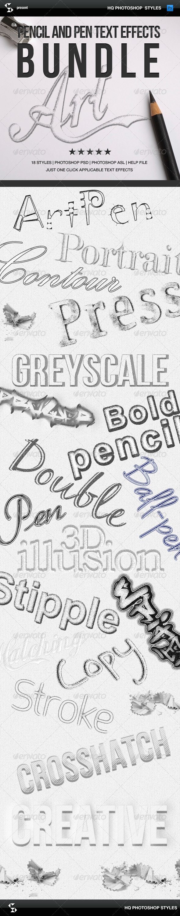 GraphicRiver Pencil Styles Bundle Pencil Art Text Effects 7055587