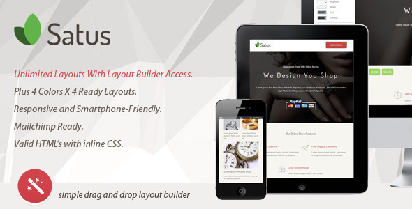 ThemeForest SATUS Responsive Email With Layout Builder 7055694