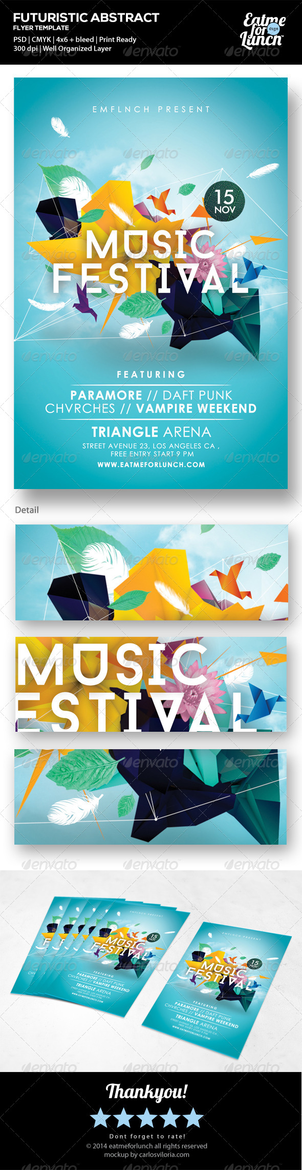 GraphicRiver Futuristic Abstract Gigs Festival Flyer Templates 7056792
