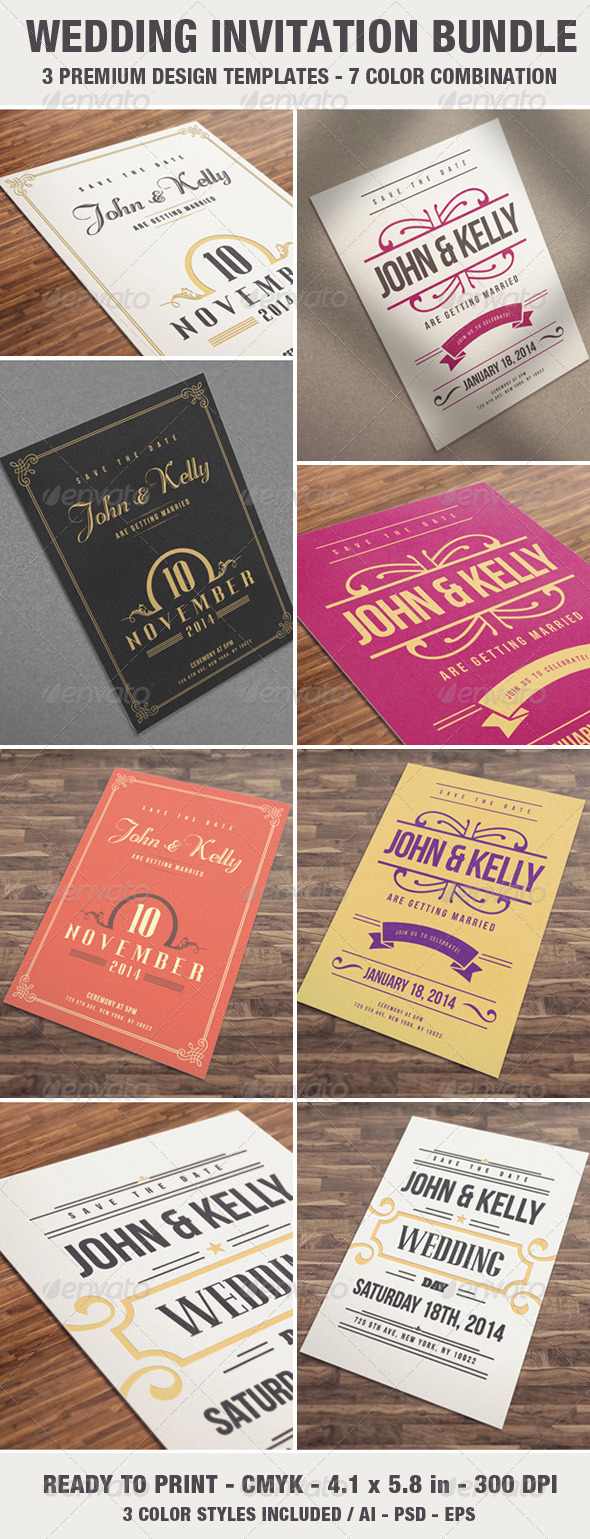 GraphicRiver Elegant & Vintage Wedding Invitation Card Bundle 7057820