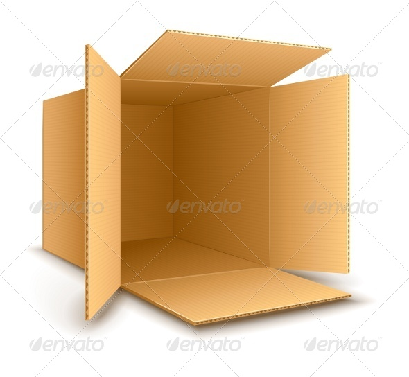 GraphicRiver Open Empty Cardboard Box 7058370