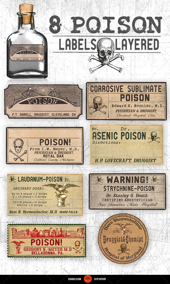 GraphicRiver 8 Editable Layered Poison Labels 7059526