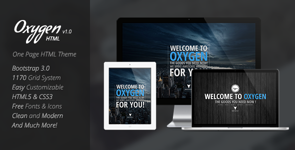 ThemeForest Oxygen One Page Parallax Theme 7039638