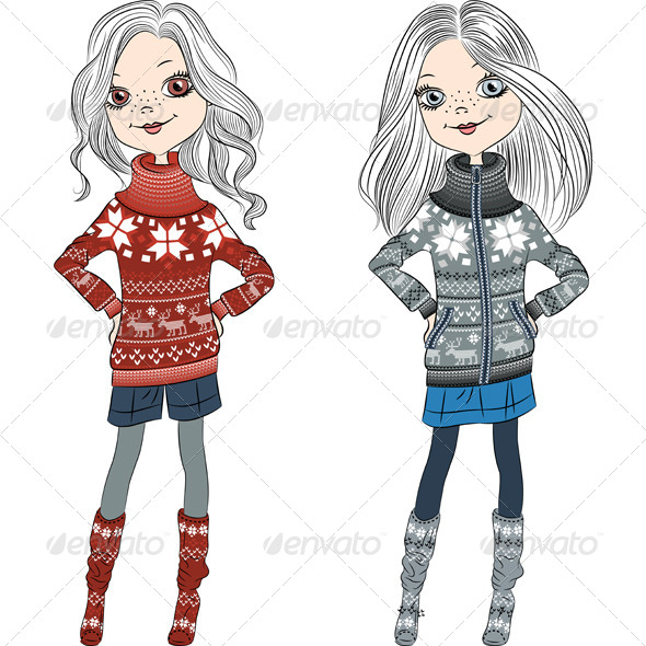 GraphicRiver Fashion Hipster Girls in Knitted Sweaters 7059781
