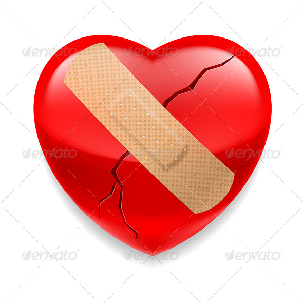 GraphicRiver Cracked Red Heart with Plaster 7060900