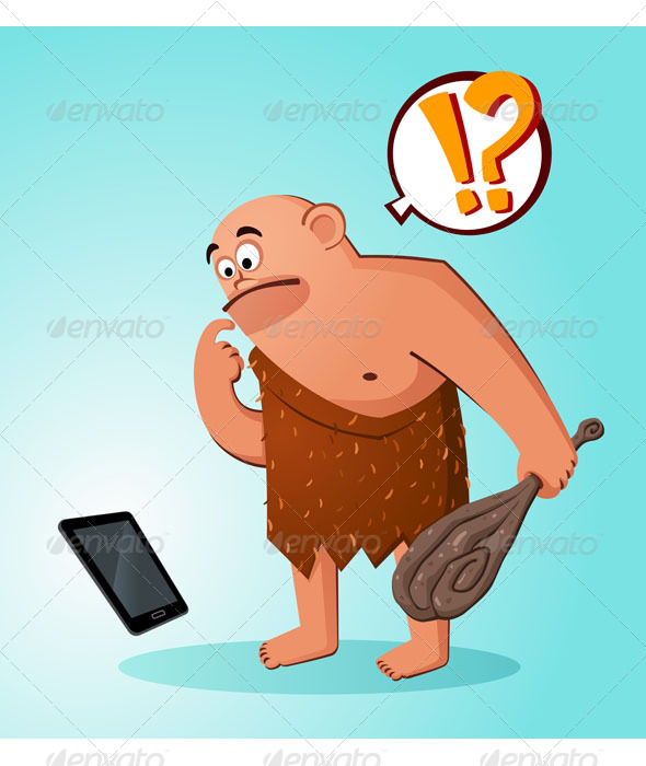 GraphicRiver Caveman Found a Gadget 7061196