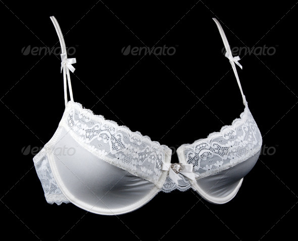 White pat lacy bra - Stock Photo - Images