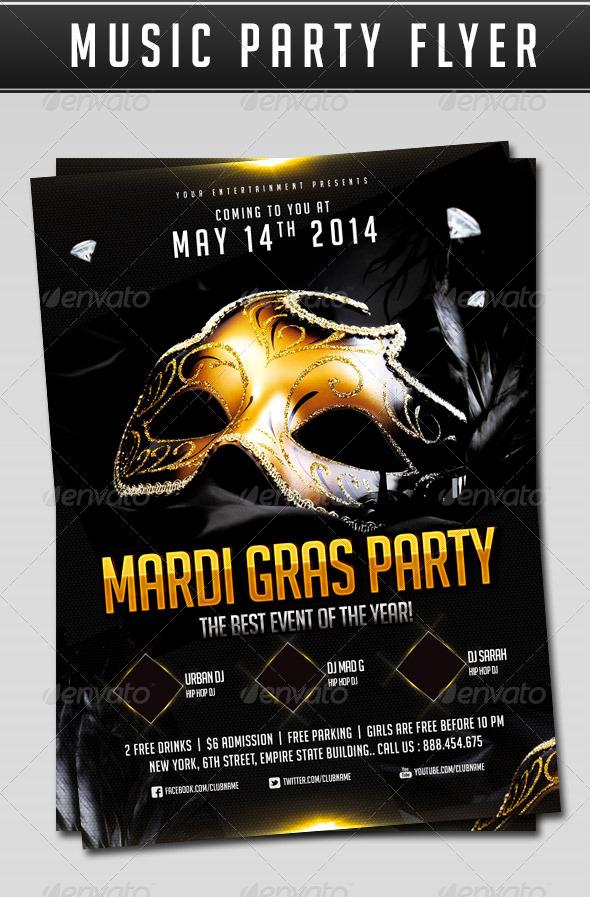 GraphicRiver Mardi Gras Party flyer 7062136