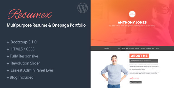 ThemeForest ResumeX Multipurpose Resume & One Page Portfolio 7044501