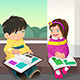 Kids Reading a Book - GraphicRiver Item for Sale